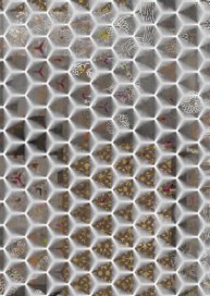hexagons browns and golds